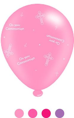 1st Communion Pink Balloons (8 Pack)