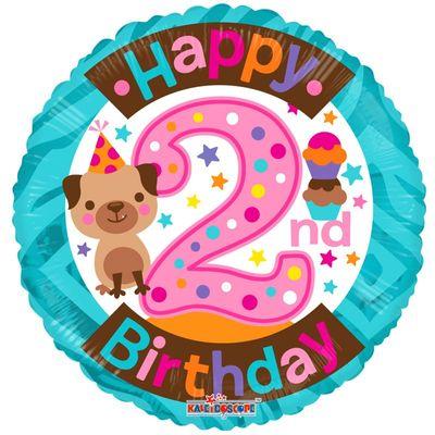 2nd Party Dog Birthday Balloon