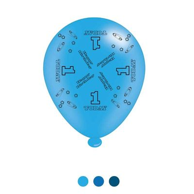 Age 1 Blue Birthday Latex Balloons x8