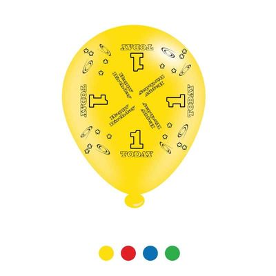Age 1 Unisex Birthday Latex Balloons x8