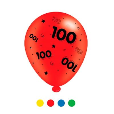"""""""Age 100"""" Unisex Mix Latex Balloons [6 Packs – 8 Each]"""