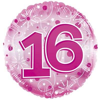 Age 16 Clearview Balloon – Pink [24 Inches]