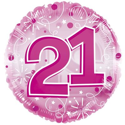 Age 21 Clearview Balloon – Pink [24 Inches]