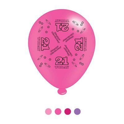 Age 21 Pink Birthday Latex Balloons x8