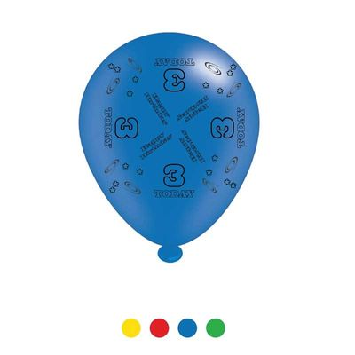 Age 3 Unisex Birthday Latex Balloons x8