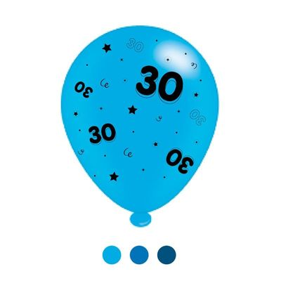 Age 30 Blue Mix Latex Balloons (6 Packs)