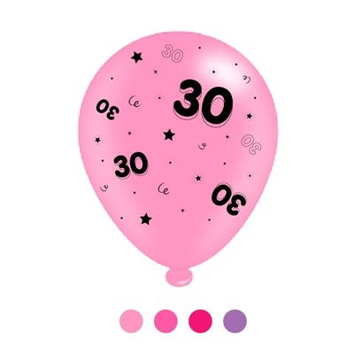 Age 30 Pink Mix Latex Balloons (6 Packs of 8 Balloons)