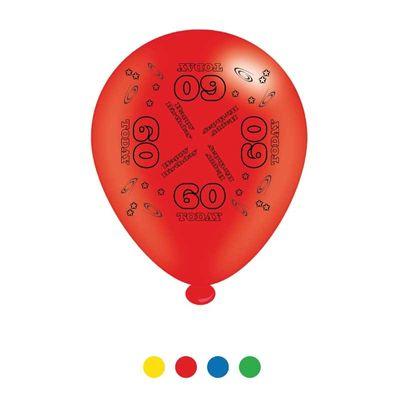 Age 60 Unisex Birthday Latex Balloons x8