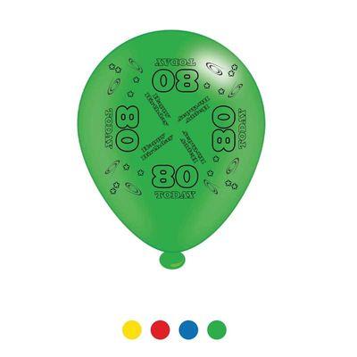 Age 80 Unisex Birthday Latex Balloons x8
