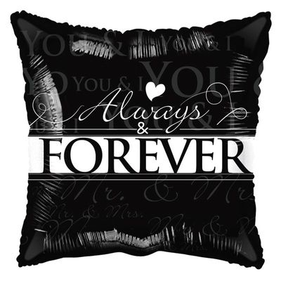 """""""Always and Forever"""" Black and White Balloon"""