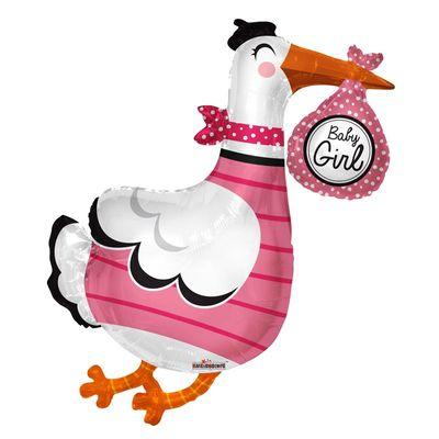 Baby Girl Stork Foil Balloon