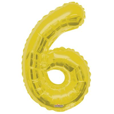Gold Big Number 6 Balloon 34inch