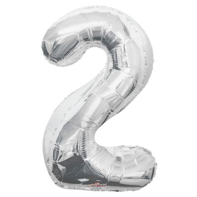 Silver 2 Big Number Balloon 34inch