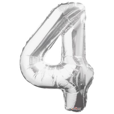 Silver Big Number 4 Balloon [34 Inches]