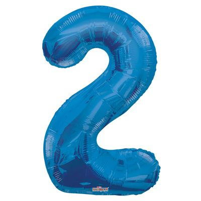 Blue 2 Big Number Balloon 34inch