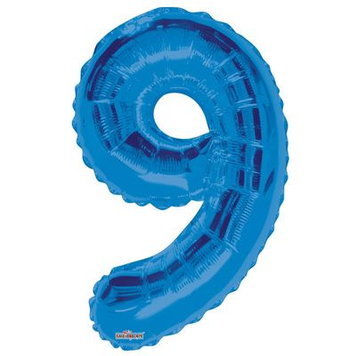 Blue 9 Big Number Balloon 34inch