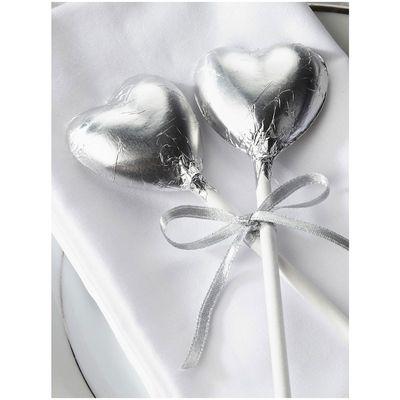 Silver Foil Chocolate Heart Lollipop