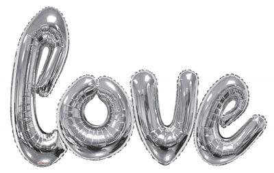 Giant Love Script Silver Balloon