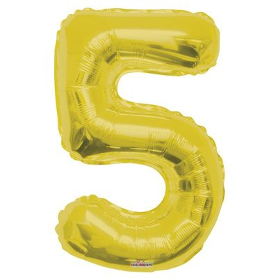 Gold Big Number 5 Balloon 34inch