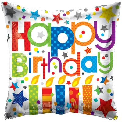 Happy Birthday Patterned Candles Balloon