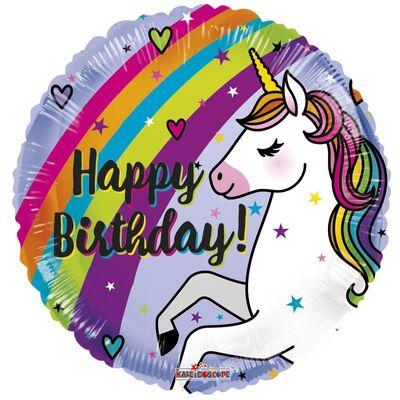 18″ Birthday Unicorn and Rainbow Balloon