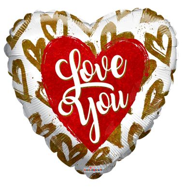 """Holographic Hearts """"Love You"""" Balloon [18 inches]"""