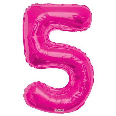 Magenta Number 5 Balloon 34inch