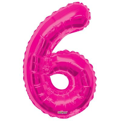 Magenta Number 6 Balloon 34inch