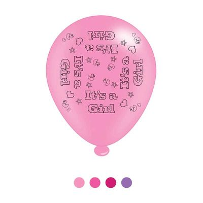 Its a Girl Latex Balloons x8