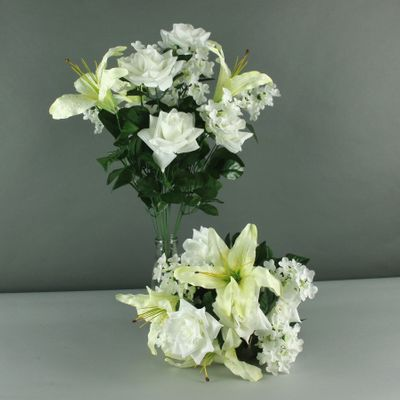 Lily rose hydrangea mixed bush cream [14 Heads]