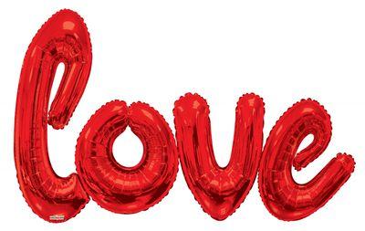 """Love"" Script Giant Red Balloon (84x53inch)"