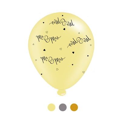 Mr & Mrs Mixed Latex Balloons (8 pack)