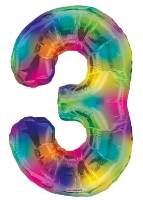 Rainbow Number 3 Balloon [34 Inches]