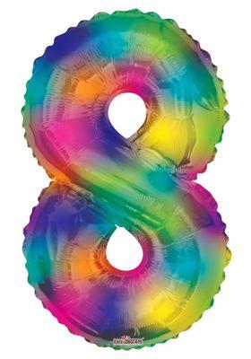 (34 inch) Number Balloon – 8 – Rainbow