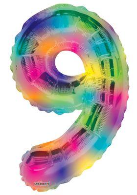 (34 inch) Number Balloon – 9 – Rainbow