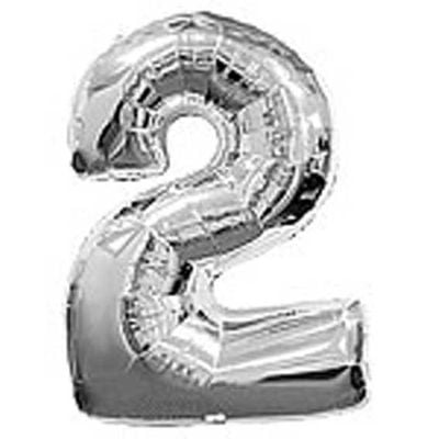 Big Number 2 Silver Balloon