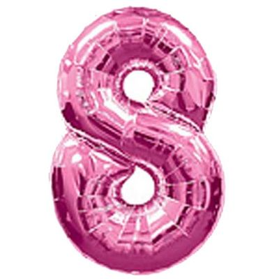 Big Number Balloon 8inch Pink – 38 inch