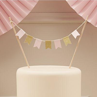 Pink & Gold Glitter Cake Bunting
