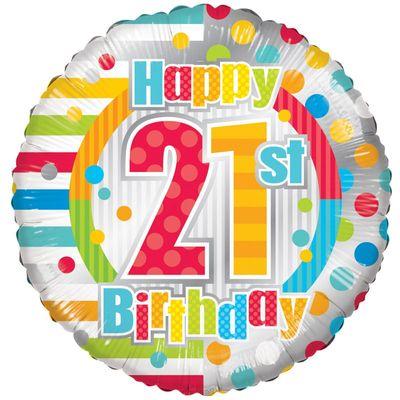 Radiant Happy 21st Birthday Balloon