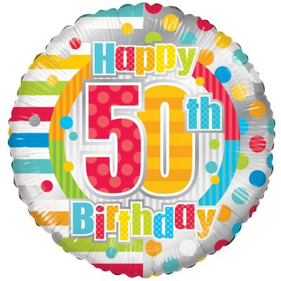 Radiant Happy 50th Birthday Balloon