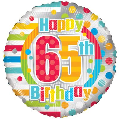 Radiant Happy 65th Birthday Balloon