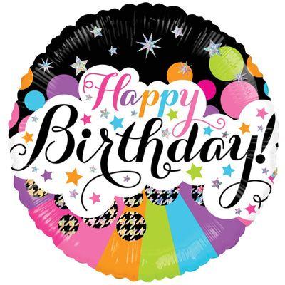 Retro Happy Birthday Foil Balloon