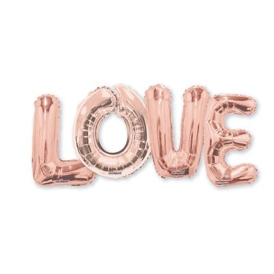 """""""LOVE"""" Balloon Rose Gold Bouquet (14 inches)"""