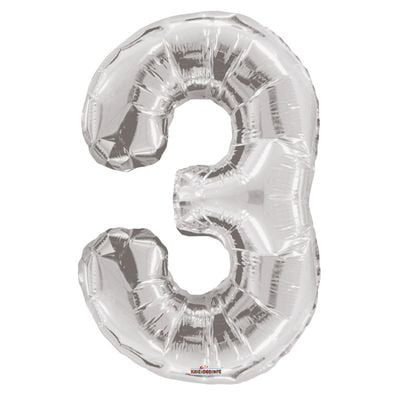 Silver 3 Big Number Balloon 34inch