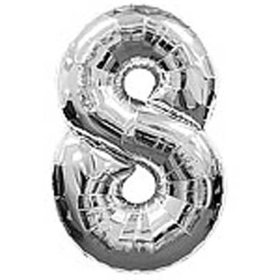 Big Number Balloon 8 Silver – 38 inch