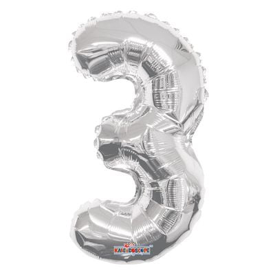 Silver Number 3 Balloon 14inch
