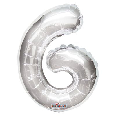 Silver Number 6 Balloon 14inch