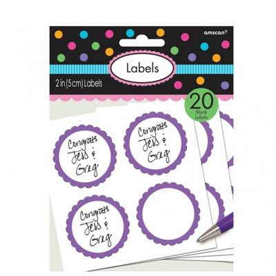 Purple Scalloped Candy Labels