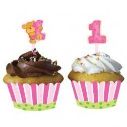 Teddy Bears 1st Birthday Girl Cupcake Wrapper with Picks