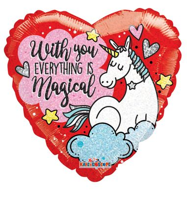 """""""With You Everything is Magical"""" Unicorn Balloon [18inches]"""
